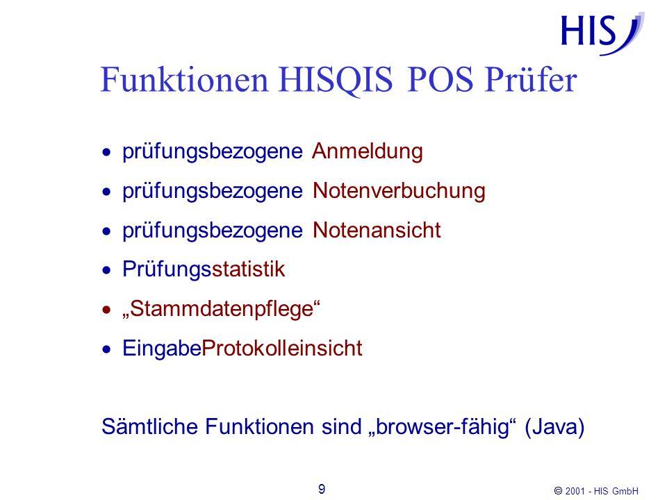 2001 - HIS GmbH 10 Funktionen HISQIS POS-Student Anmeldung Rücktritt Notenspiegel [Umbuchen] [Freiversuchssetzung] Sämtliche Funktionen sind browser-fähig (Java)