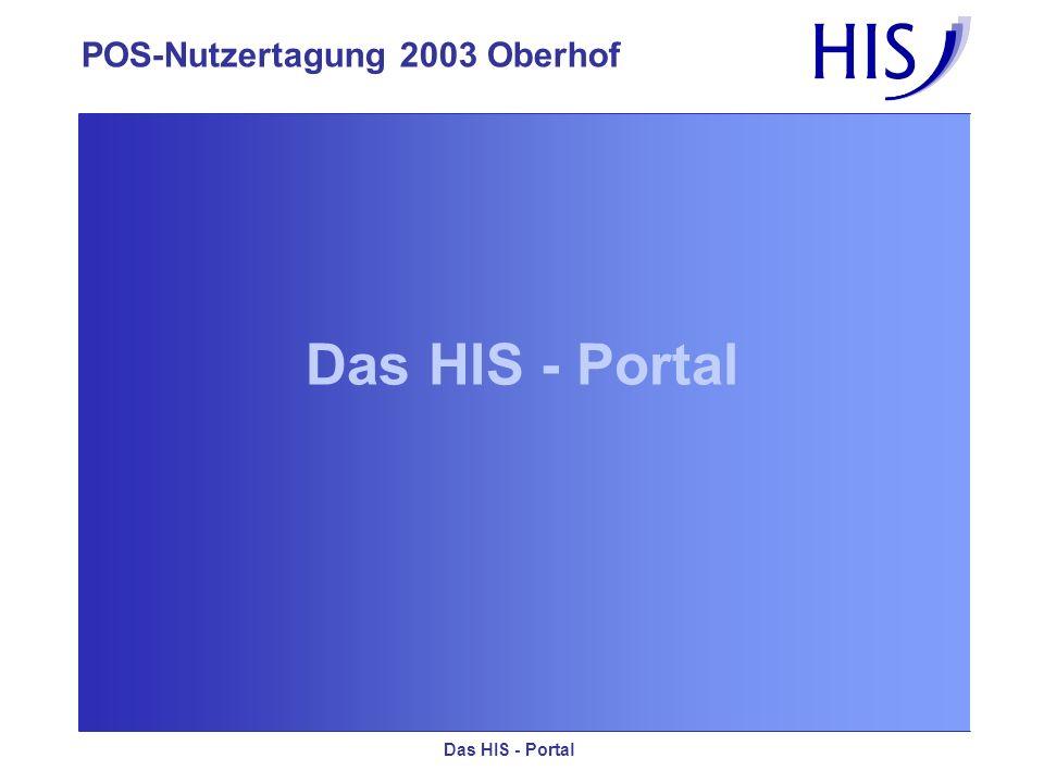 POS-Nutzertagung 2003 Oberhof Das HIS - Portal