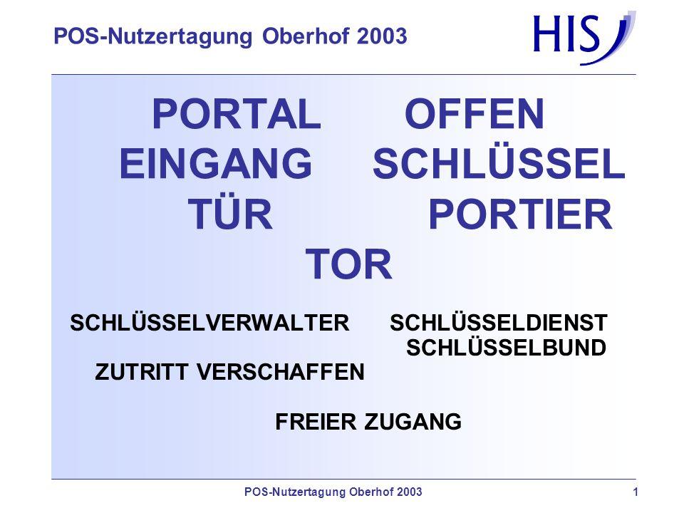 POS-Nutzertagung Oberhof 2003 1 PORTAL OFFEN EINGANG SCHLÜSSEL TÜR PORTIER TOR SCHLÜSSELVERWALTER SCHLÜSSELDIENST SCHLÜSSELBUND ZUTRITT VERSCHAFFEN FREIER ZUGANG
