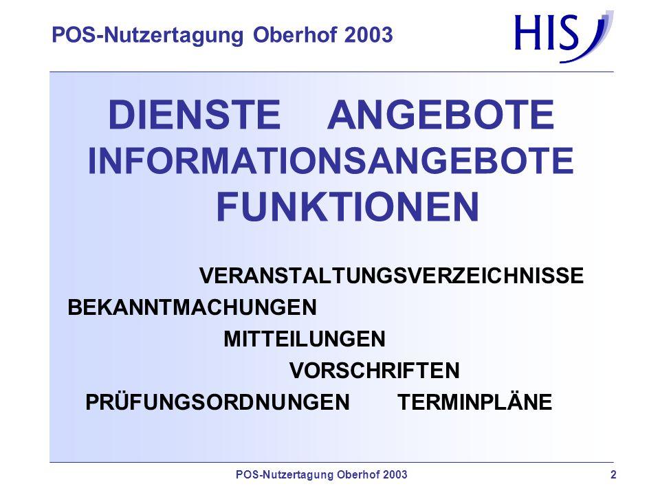 POS-Nutzertagung Oberhof 2003 2 DIENSTE ANGEBOTE INFORMATIONSANGEBOTE FUNKTIONEN VERANSTALTUNGSVERZEICHNISSE BEKANNTMACHUNGEN MITTEILUNGEN VORSCHRIFTEN PRÜFUNGSORDNUNGENTERMINPLÄNE