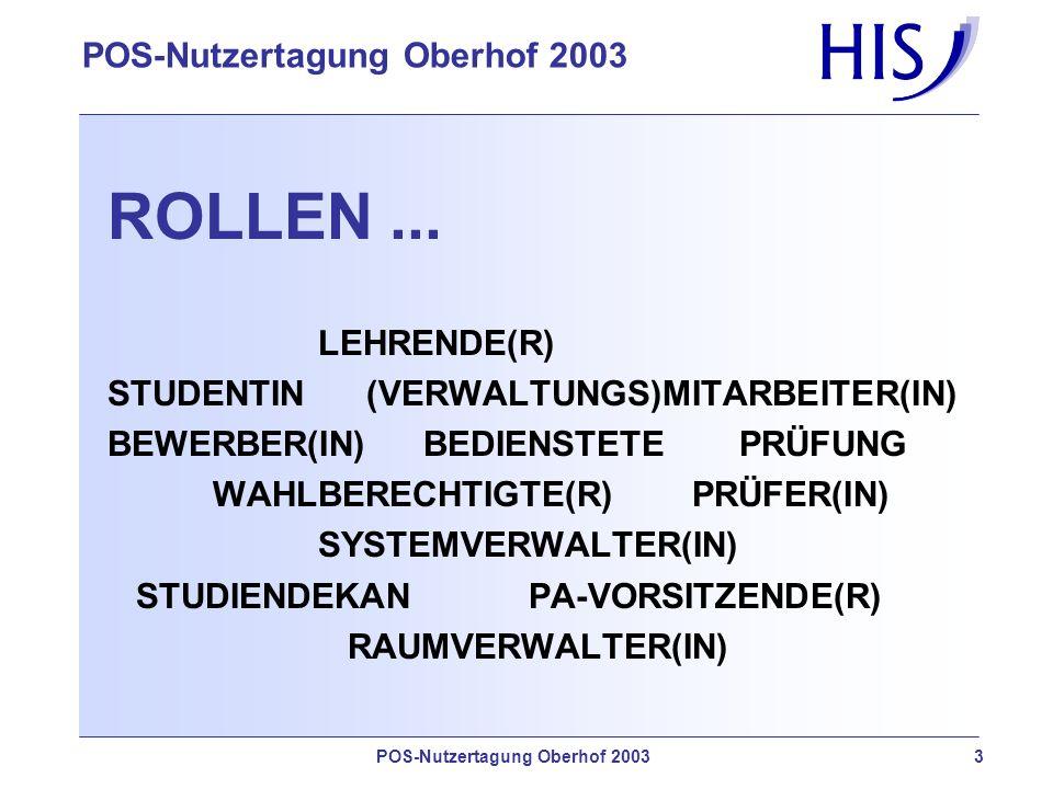 POS-Nutzertagung Oberhof 2003 3 ROLLEN...