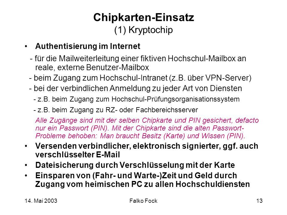 14. Mai 2003Falko Fock13 Chipkarten-Einsatz (1) Kryptochip Authentisierung im Internet - für die Mailweiterleitung einer fiktiven Hochschul-Mailbox an
