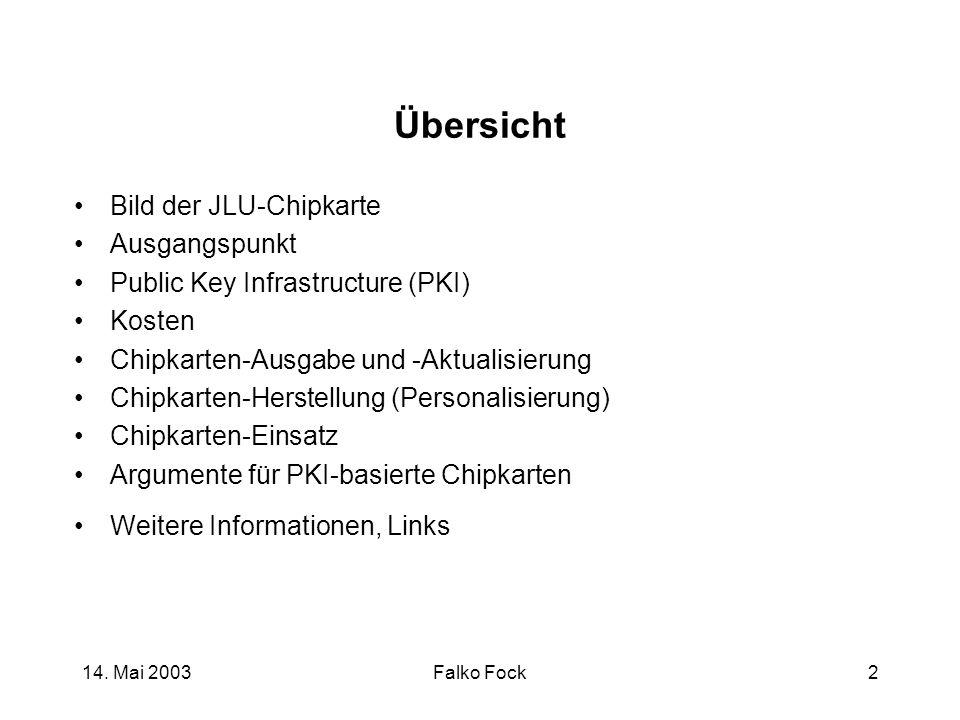 14. Mai 2003Falko Fock2 Übersicht Bild der JLU-Chipkarte Ausgangspunkt Public Key Infrastructure (PKI) Kosten Chipkarten-Ausgabe und -Aktualisierung C