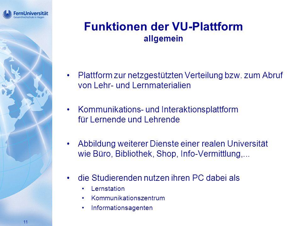 11 Funktionen der VU-Plattform allgemein Plattform zur netzgestützten Verteilung bzw.