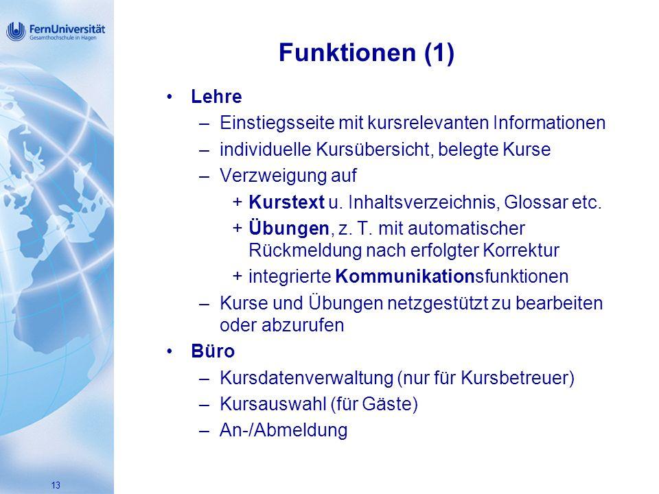 13 Funktionen (1) Lehre –Einstiegsseite mit kursrelevanten Informationen –individuelle Kursübersicht, belegte Kurse –Verzweigung auf +Kurstext u.