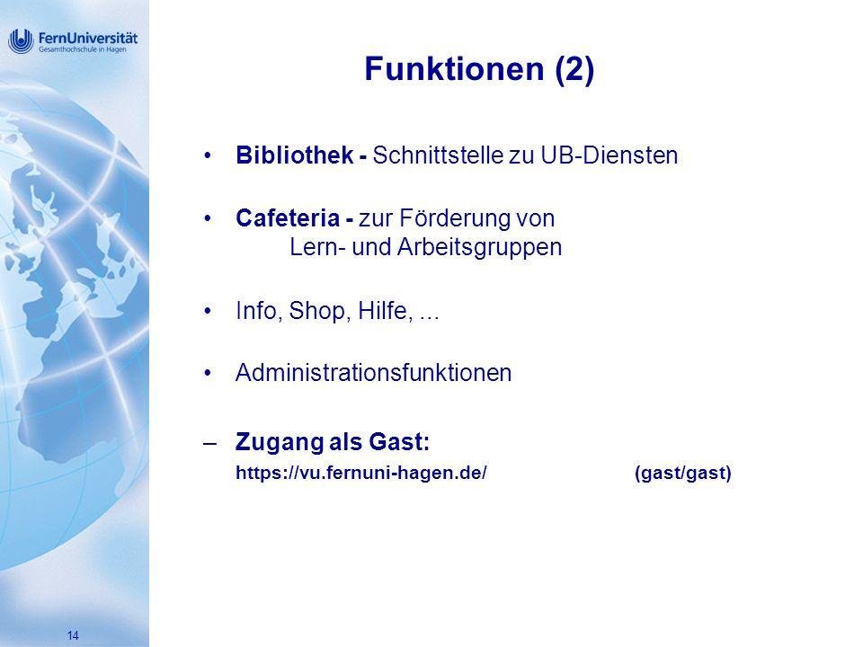 14 Funktionen (2) Bibliothek - Schnittstelle zu UB-Diensten Cafeteria - zur Förderung von Lern- und Arbeitsgruppen Info, Shop, Hilfe,...
