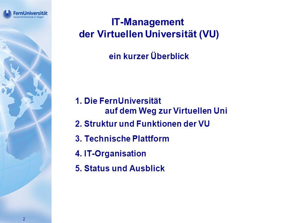 2 IT-Management der Virtuellen Universität (VU) ein kurzer Überblick 1.