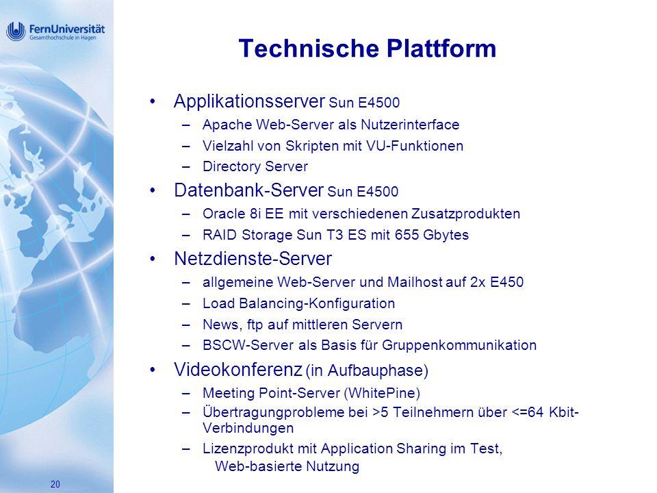 20 Technische Plattform Applikationsserver Sun E4500 –Apache Web-Server als Nutzerinterface –Vielzahl von Skripten mit VU-Funktionen –Directory Server Datenbank-Server Sun E4500 –Oracle 8i EE mit verschiedenen Zusatzprodukten –RAID Storage Sun T3 ES mit 655 Gbytes Netzdienste-Server –allgemeine Web-Server und Mailhost auf 2x E450 –Load Balancing-Konfiguration –News, ftp auf mittleren Servern –BSCW-Server als Basis für Gruppenkommunikation Videokonferenz (in Aufbauphase) –Meeting Point-Server (WhitePine) –Übertragungprobleme bei >5 Teilnehmern über <=64 Kbit- Verbindungen –Lizenzprodukt mit Application Sharing im Test, Web-basierte Nutzung