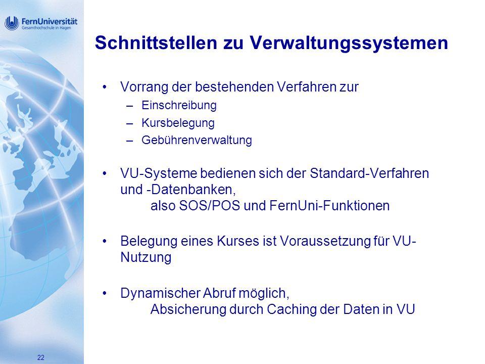 22 Schnittstellen zu Verwaltungssystemen Vorrang der bestehenden Verfahren zur –Einschreibung –Kursbelegung –Gebührenverwaltung VU-Systeme bedienen sich der Standard-Verfahren und -Datenbanken, also SOS/POS und FernUni-Funktionen Belegung eines Kurses ist Voraussetzung für VU- Nutzung Dynamischer Abruf möglich, Absicherung durch Caching der Daten in VU