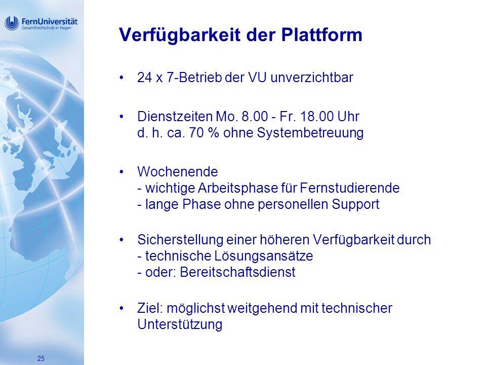 25 Verfügbarkeit der Plattform 24 x 7-Betrieb der VU unverzichtbar Dienstzeiten Mo.