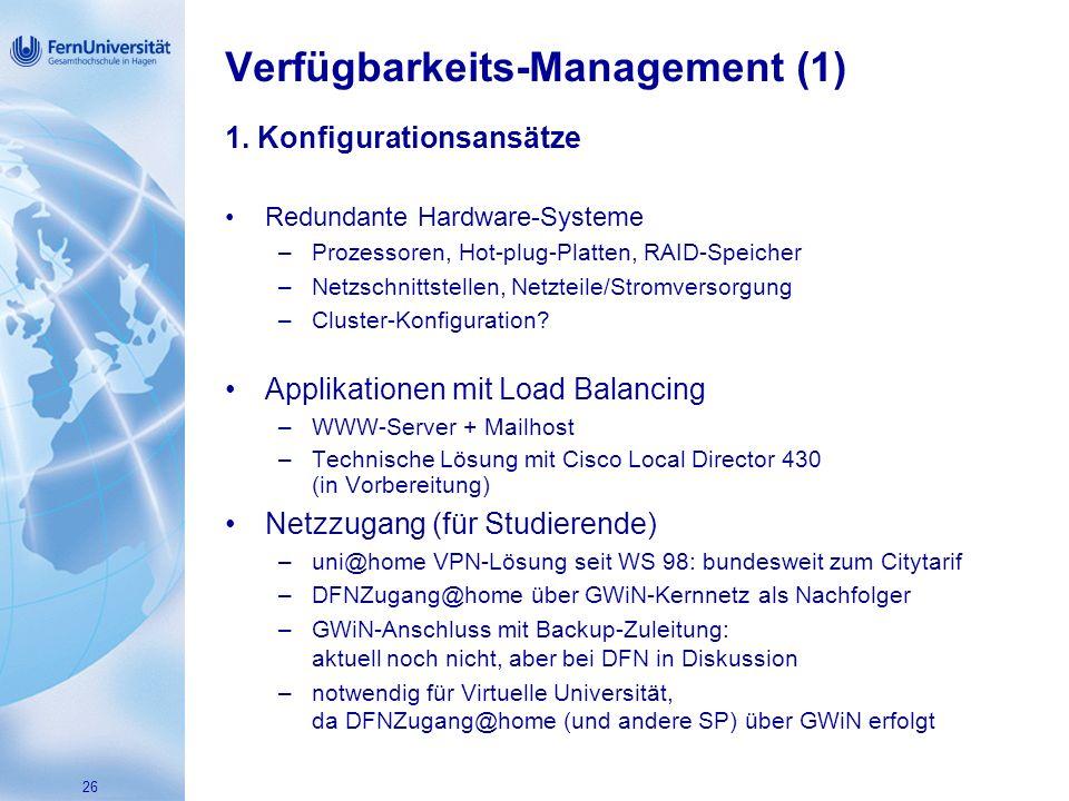 26 Verfügbarkeits-Management (1) 1.