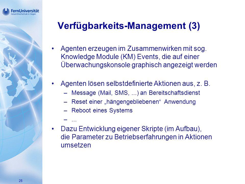 28 Verfügbarkeits-Management (3) Agenten erzeugen im Zusammenwirken mit sog.