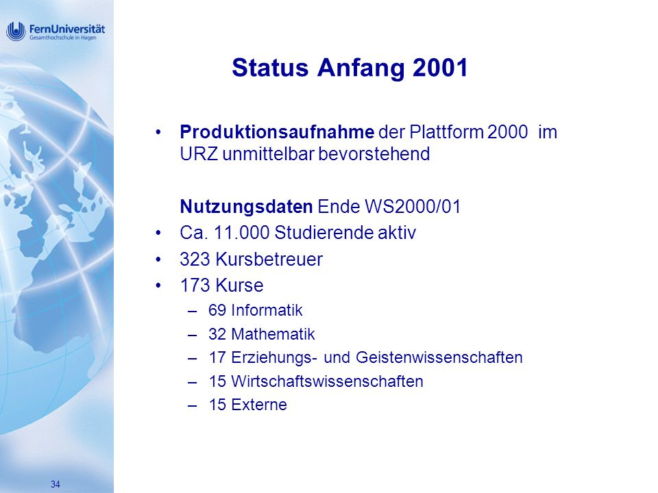 34 Status Anfang 2001 Produktionsaufnahme der Plattform 2000 im URZ unmittelbar bevorstehend Nutzungsdaten Ende WS2000/01 Ca.