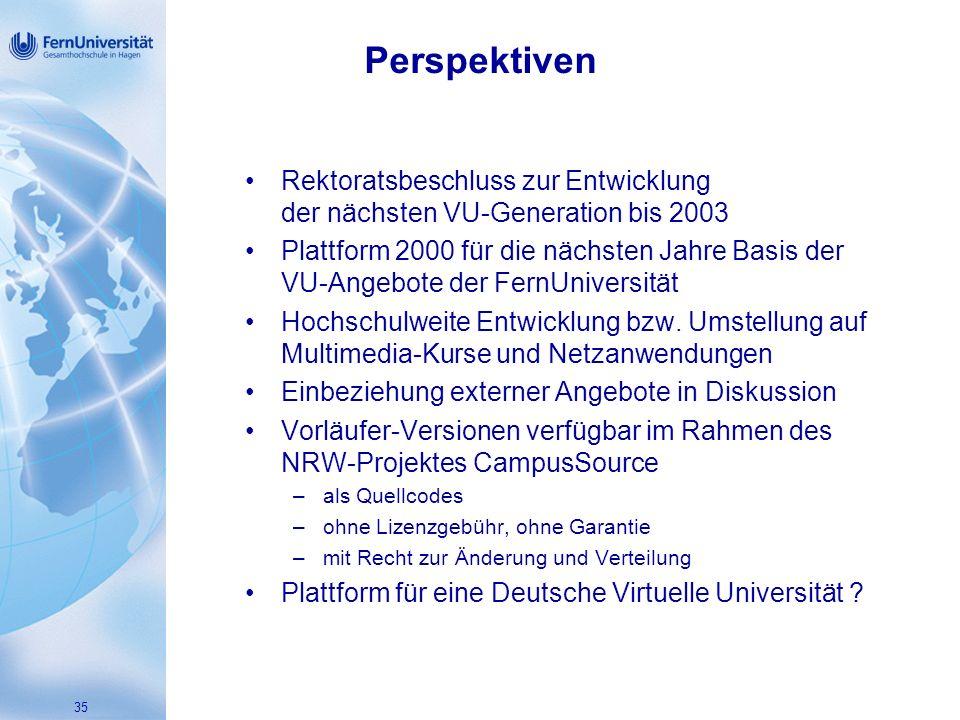 35 Perspektiven Rektoratsbeschluss zur Entwicklung der nächsten VU-Generation bis 2003 Plattform 2000 für die nächsten Jahre Basis der VU-Angebote der FernUniversität Hochschulweite Entwicklung bzw.