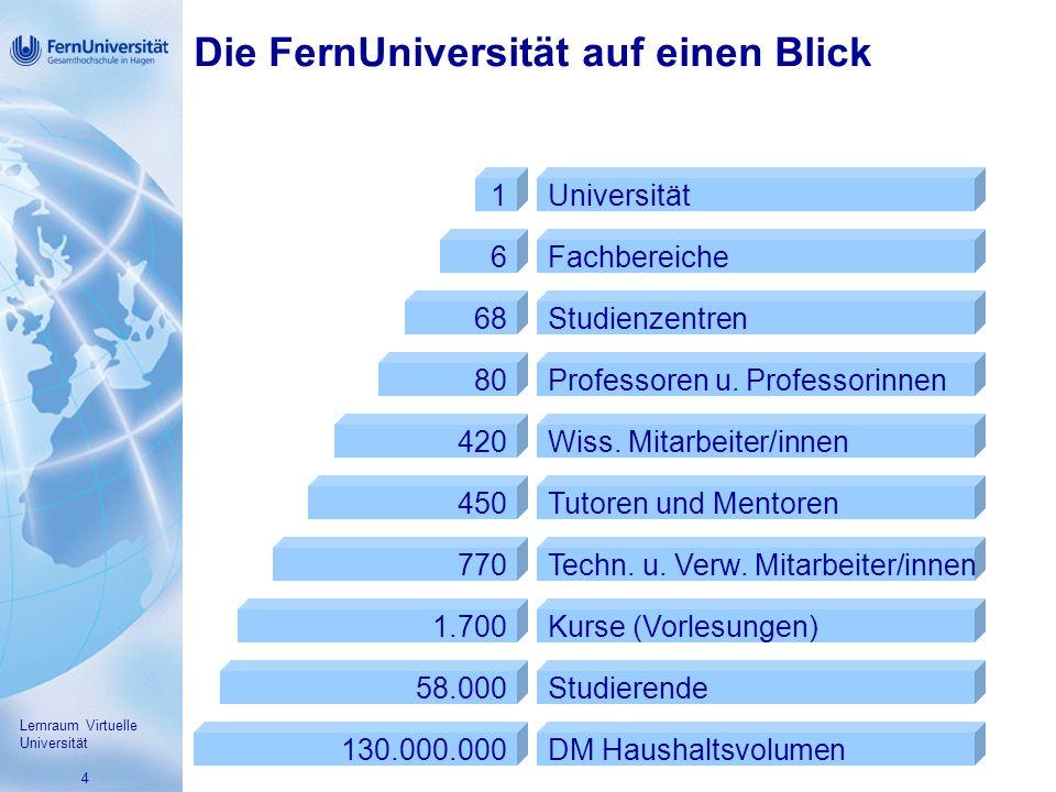 4 Die FernUniversität auf einen Blick 68 6 1 80 420 450 770 1.700 58.000 130.000.000 Studienzentren Fachbereiche Universität Professoren u.