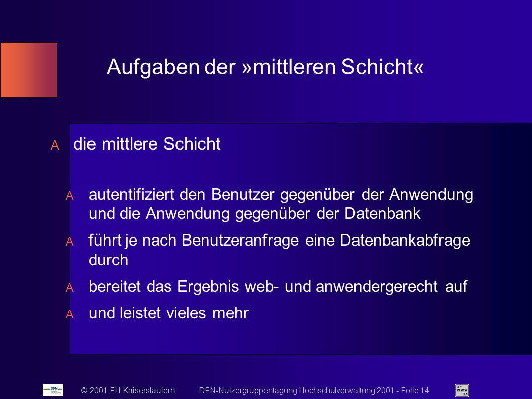 © 2001 FH Kaiserslautern DFN-Nutzergruppentagung Hochschulverwaltung 2001 - Folie 14 Aufgaben der »mittleren Schicht« die mittlere Schicht autentifiziert den Benutzer gegenüber der Anwendung und die Anwendung gegenüber der Datenbank führt je nach Benutzeranfrage eine Datenbankabfrage durch bereitet das Ergebnis web- und anwendergerecht auf und leistet vieles mehr