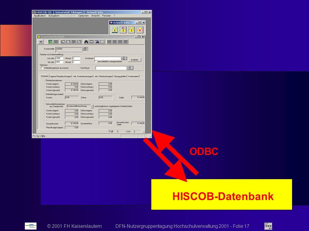 © 2001 FH Kaiserslautern DFN-Nutzergruppentagung Hochschulverwaltung 2001 - Folie 17 HISCOB-Datenbank ODBC