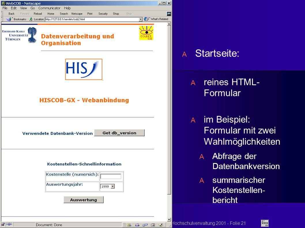 © 2001 FH Kaiserslautern DFN-Nutzergruppentagung Hochschulverwaltung 2001 - Folie 21 Startseite: reines HTML- Formular im Beispiel: Formular mit zwei Wahlmöglichkeiten Abfrage der Datenbankversion summarischer Kostenstellen- bericht