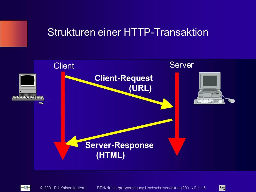 © 2001 FH Kaiserslautern DFN-Nutzergruppentagung Hochschulverwaltung 2001 - Folie 6 Strukturen einer HTTP-Transaktion Client Server Client-Request (URL) Server-Response (HTML)