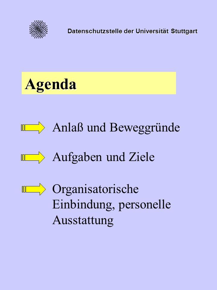 Datenschutzstelle der Universität Stuttgart Agenda Anlaß und Beweggründe Aufgaben und Ziele Organisatorische Einbindung, personelle Ausstattung