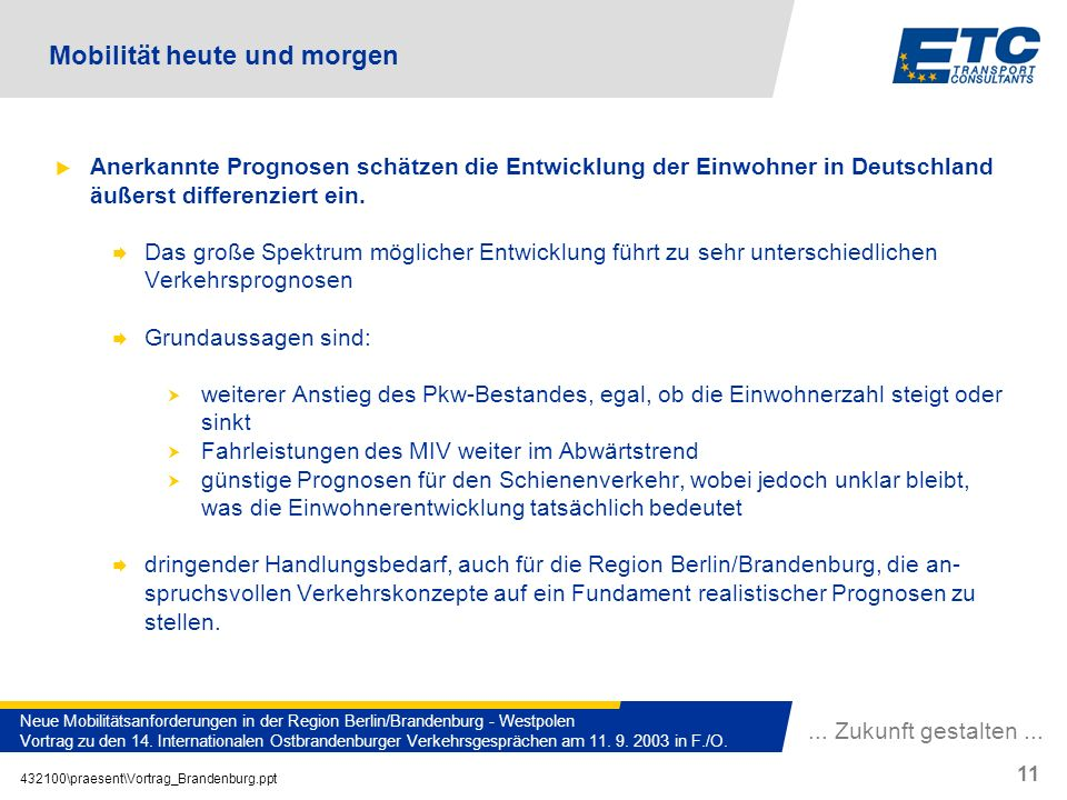 ... Zukunft gestalten... 432100\praesent\Vortrag_Brandenburg.ppt 11 Neue Mobilitätsanforderungen in der Region Berlin/Brandenburg - Westpolen Vortrag