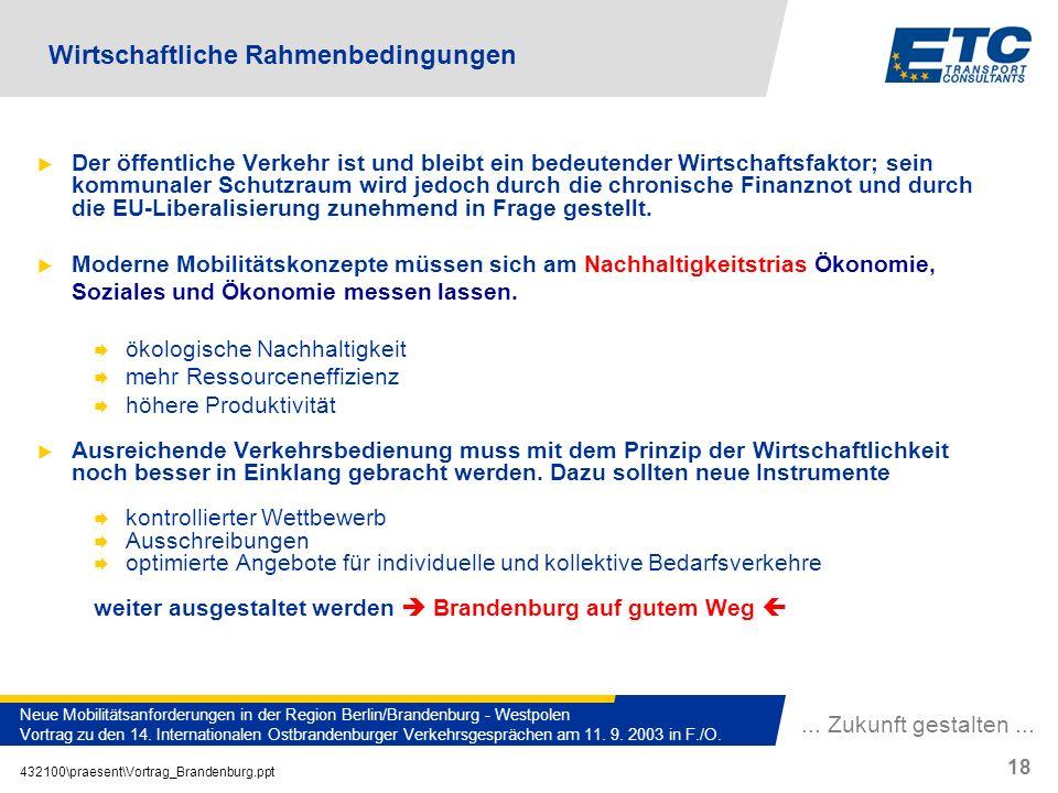 ... Zukunft gestalten... 432100\praesent\Vortrag_Brandenburg.ppt 18 Neue Mobilitätsanforderungen in der Region Berlin/Brandenburg - Westpolen Vortrag