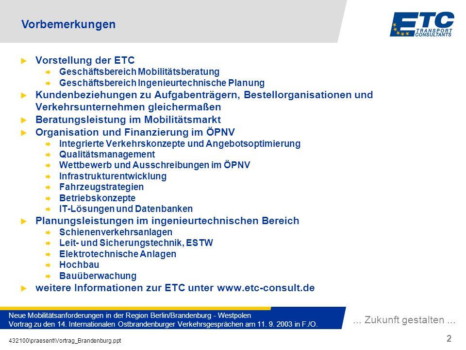 432100\praesent\Vortrag_Brandenburg.ppt 2 Neue Mobilitätsanforderungen in der Region Berlin/Brandenburg - Westpolen Vortrag zu den 14. Internationalen