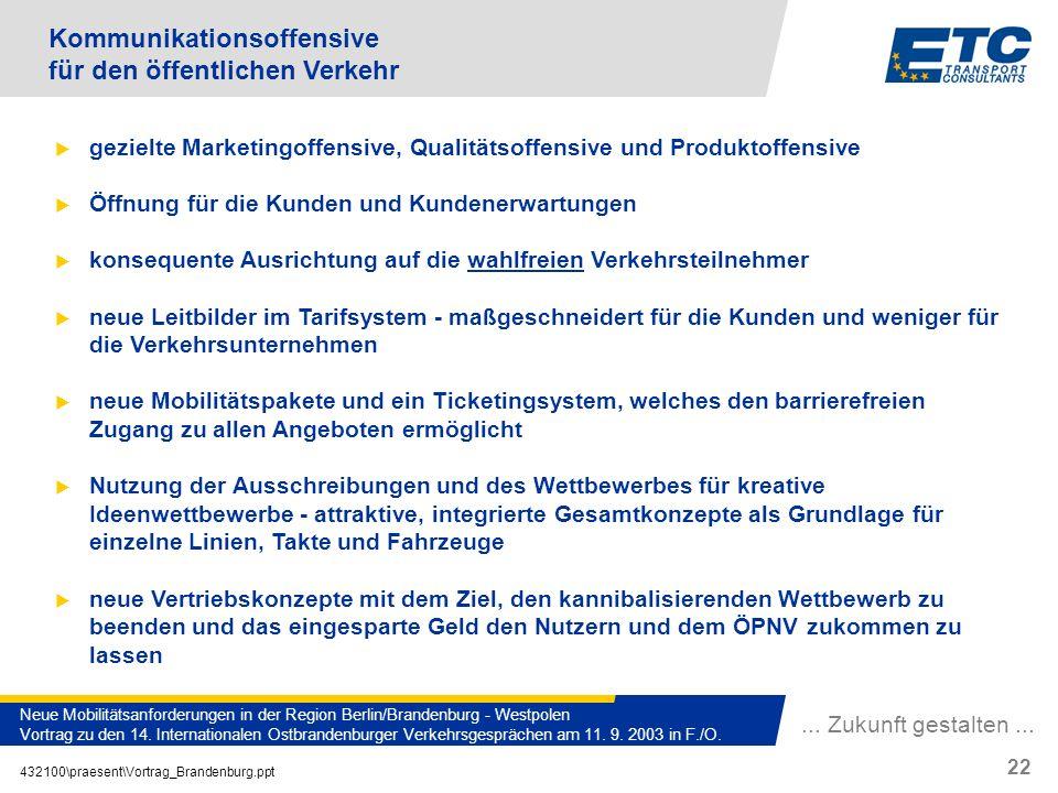 ... Zukunft gestalten... 432100\praesent\Vortrag_Brandenburg.ppt 22 Neue Mobilitätsanforderungen in der Region Berlin/Brandenburg - Westpolen Vortrag