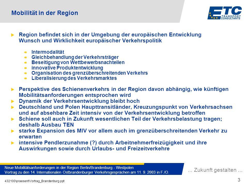 ... Zukunft gestalten... 432100\praesent\Vortrag_Brandenburg.ppt 3 Neue Mobilitätsanforderungen in der Region Berlin/Brandenburg - Westpolen Vortrag z