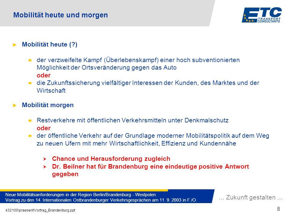 ... Zukunft gestalten... 432100\praesent\Vortrag_Brandenburg.ppt 8 Neue Mobilitätsanforderungen in der Region Berlin/Brandenburg - Westpolen Vortrag z