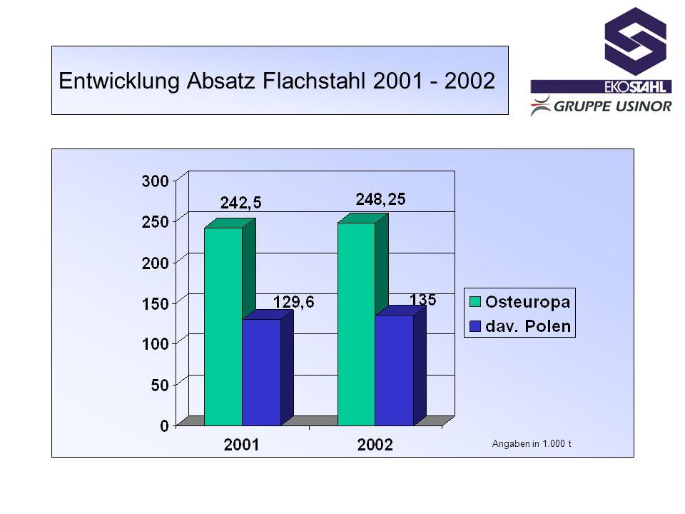 Entwicklung Absatz Flachstahl 2001 - 2002 Angaben in 1.000 t