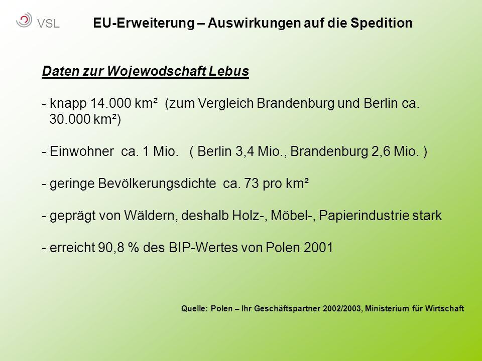 EU-Erweiterung – Auswirkungen auf die Spedition Daten zur Wojewodschaft Lebus - knapp 14.000 km² (zum Vergleich Brandenburg und Berlin ca. 30.000 km²)