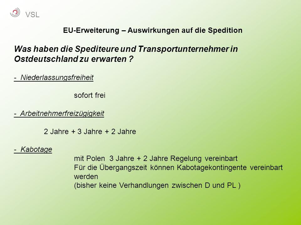 EU-Erweiterung – Auswirkungen auf die Spedition Was haben die Spediteure und Transportunternehmer in Ostdeutschland zu erwarten ? - Niederlassungsfrei