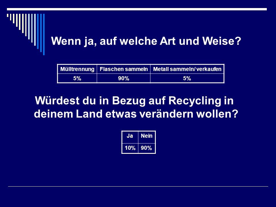 Wenn ja, auf welche Art und Weise? MülltrennungFlaschen sammelnMetall sammeln/ verkaufen 5%90%5% Würdest du in Bezug auf Recycling in deinem Land etwa