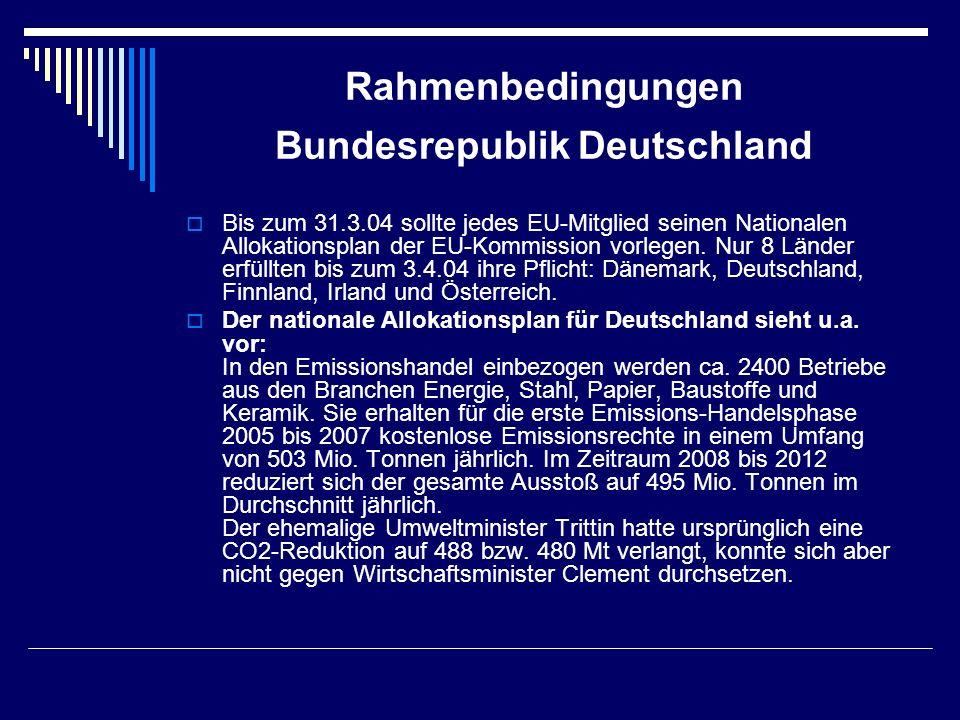 Rahmenbedingungen Bundesrepublik Deutschland Bis zum 31.3.04 sollte jedes EU-Mitglied seinen Nationalen Allokationsplan der EU-Kommission vorlegen. Nu