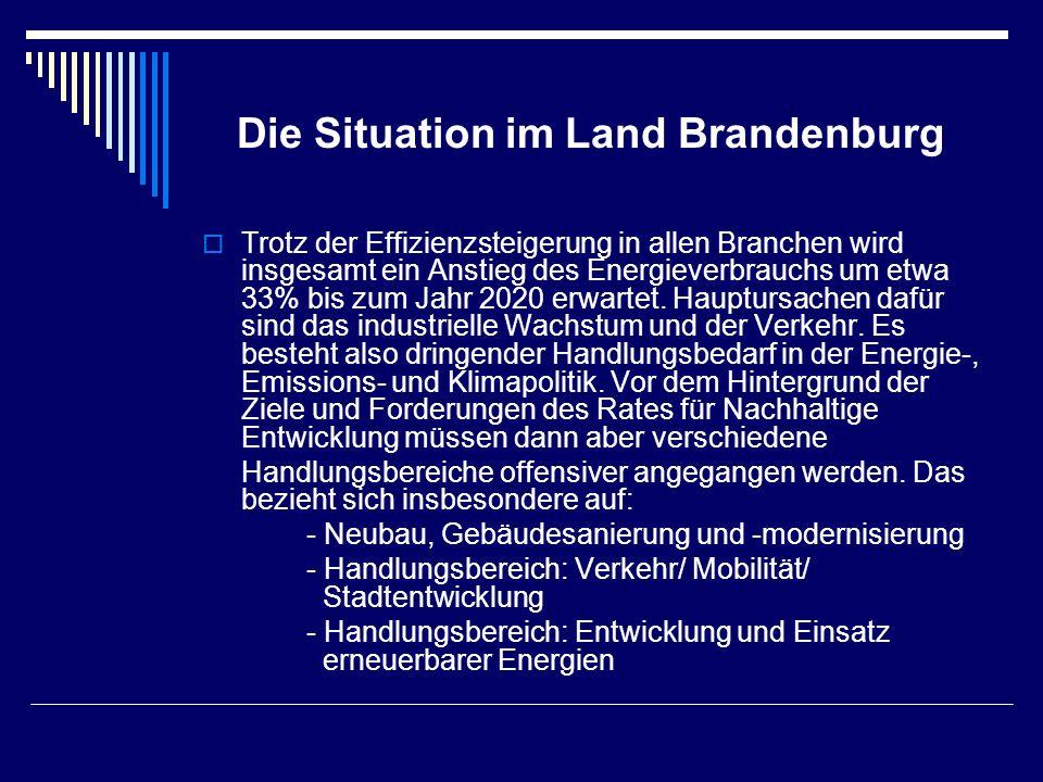 Die Situation im Land Brandenburg Trotz der Effizienzsteigerung in allen Branchen wird insgesamt ein Anstieg des Energieverbrauchs um etwa 33% bis zum