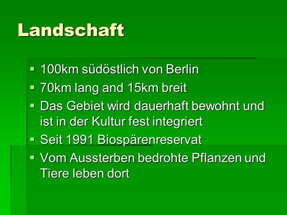 Landschaft 100km südöstlich von Berlin 100km südöstlich von Berlin 70km lang and 15km breit 70km lang and 15km breit Das Gebiet wird dauerhaft bewohnt