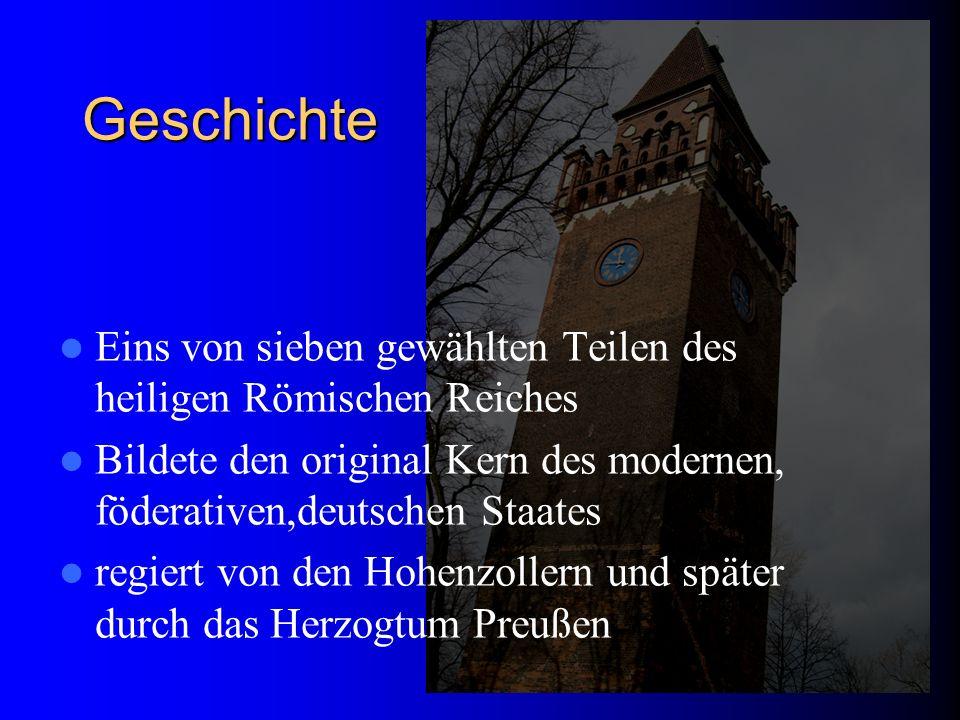 Geschichte Eins von sieben gewählten Teilen des heiligen Römischen Reiches Bildete den original Kern des modernen, föderativen,deutschen Staates regie