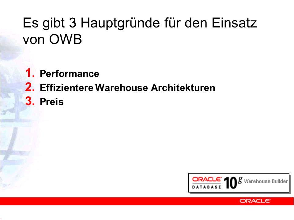 Es gibt 3 Hauptgründe für den Einsatz von OWB 1. Performance 2. Effizientere Warehouse Architekturen 3. Preis