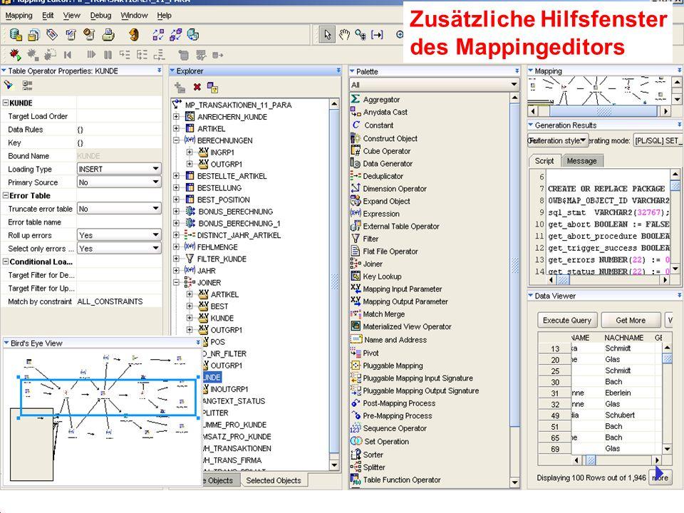 Zusätzliche Hilfsfenster des Mappingeditors