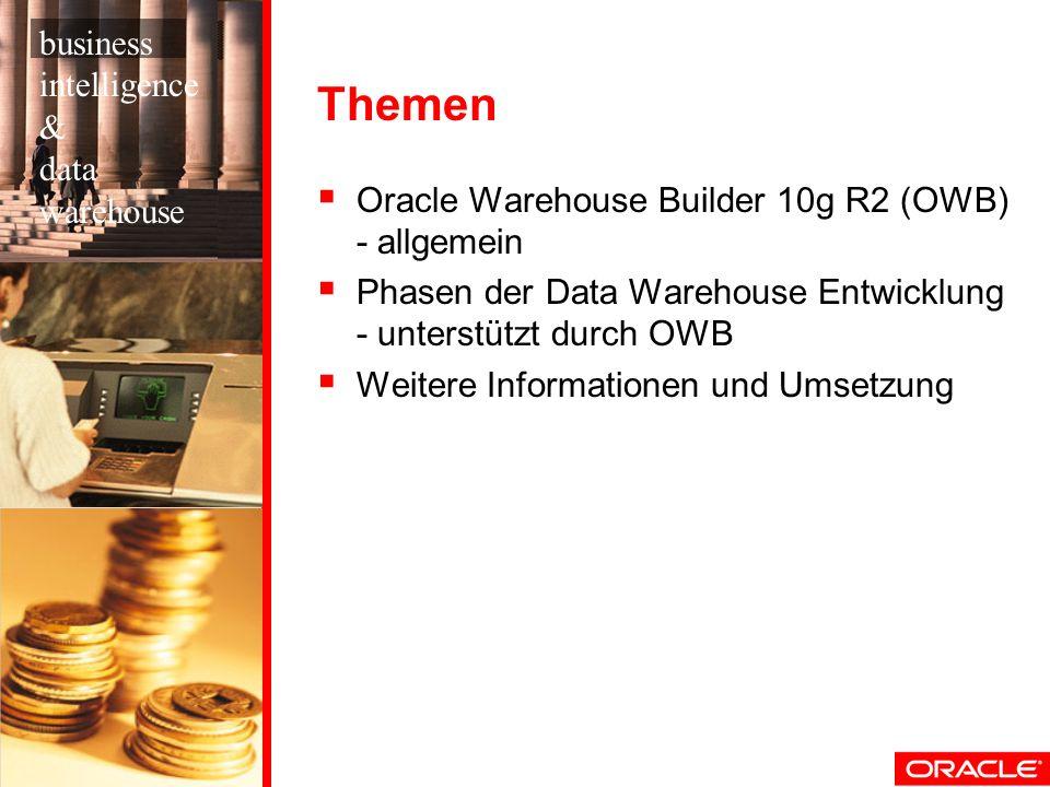 Themen Oracle Warehouse Builder 10g R2 (OWB) - allgemein Phasen der Data Warehouse Entwicklung - unterstützt durch OWB Weitere Informationen und Umset