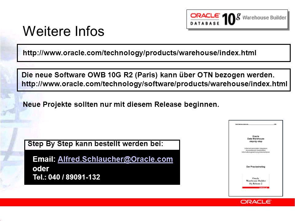 Weitere Infos http://www.oracle.com/technology/products/warehouse/index.html Die neue Software OWB 10G R2 (Paris) kann über OTN bezogen werden. http:/