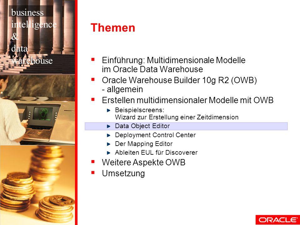 Themen Einführung: Multidimensionale Modelle im Oracle Data Warehouse Oracle Warehouse Builder 10g R2 (OWB) - allgemein Erstellen multidimensionaler M