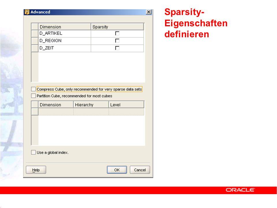 Sparsity- Eigenschaften definieren