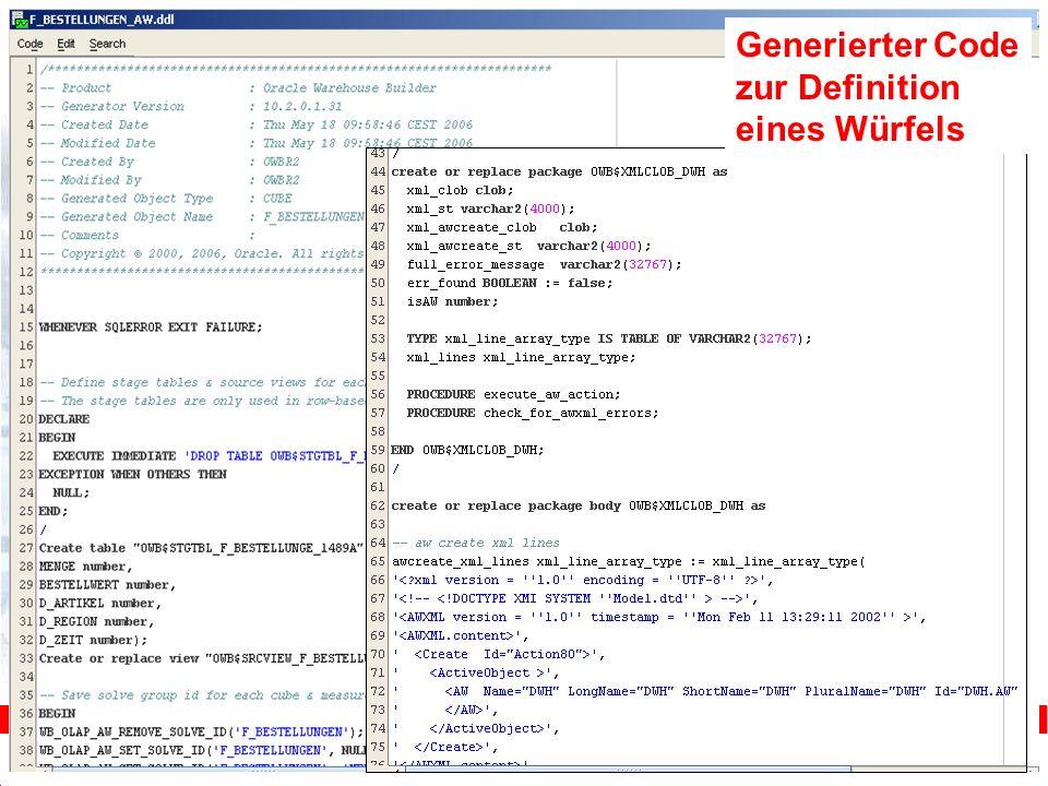 Generierter Code zur Definition eines Würfels