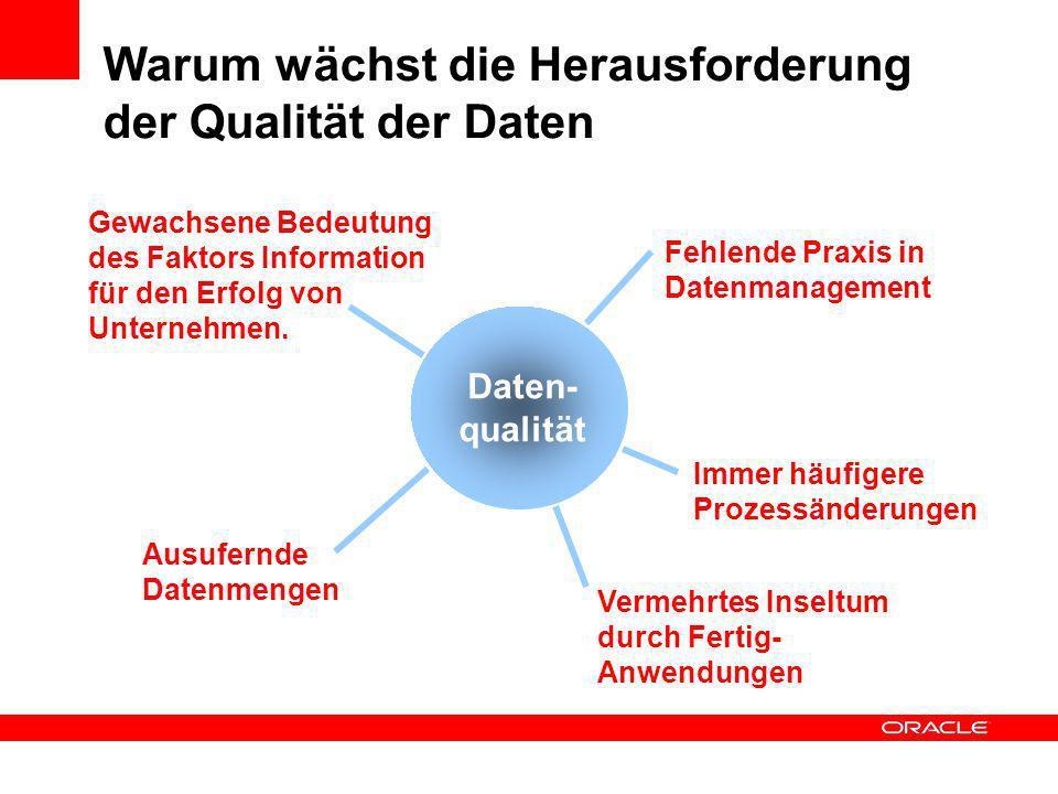 Fehlende Praxis in Datenmanagement Gewachsene Bedeutung des Faktors Information für den Erfolg von Unternehmen. Ausufernde Datenmengen Vermehrtes Inse