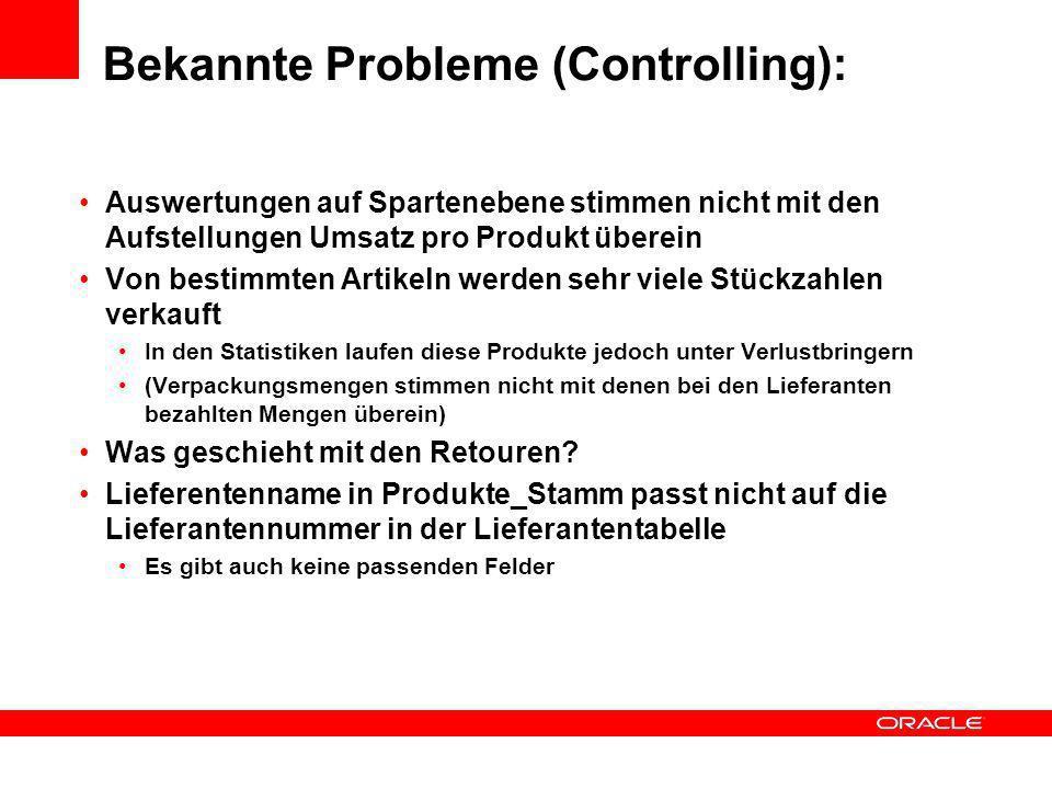 Bekannte Probleme (Controlling): Auswertungen auf Spartenebene stimmen nicht mit den Aufstellungen Umsatz pro Produkt überein Von bestimmten Artikeln