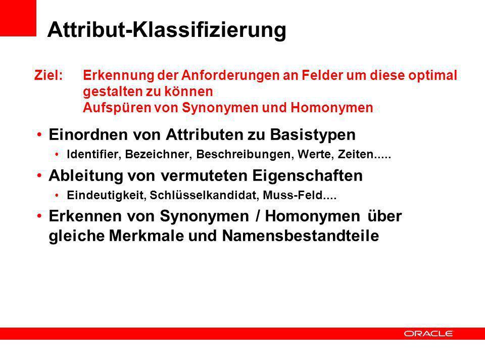 Attribut-Klassifizierung Einordnen von Attributen zu Basistypen Identifier, Bezeichner, Beschreibungen, Werte, Zeiten..... Ableitung von vermuteten Ei
