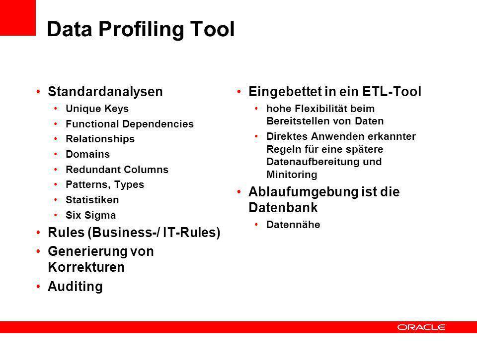 Data Profiling Tool Standardanalysen Unique Keys Functional Dependencies Relationships Domains Redundant Columns Patterns, Types Statistiken Six Sigma