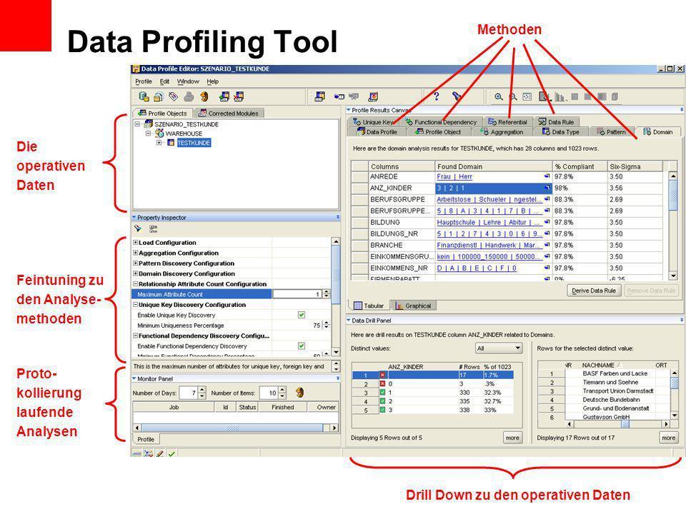 Data Profiling Tool Methoden Feintuning zu den Analyse- methoden Die operativen Daten Proto- kollierung laufende Analysen Drill Down zu den operativen